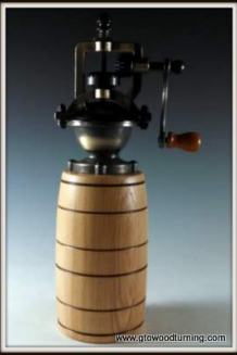 """Antique"" Style Pepper Mill in Ash with Barrel Shape"